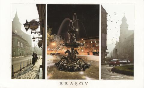 Three photos of Brașov in Romania. People walking, a fountain and cars driving in a street.